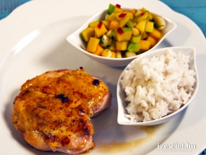 Csirkemell mangósalsával, kókusztejes rizzsel