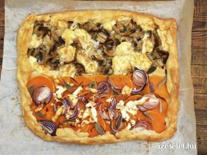 Sós crostata, sütőtökös, lilahagymás és kakukkfüves, gombás