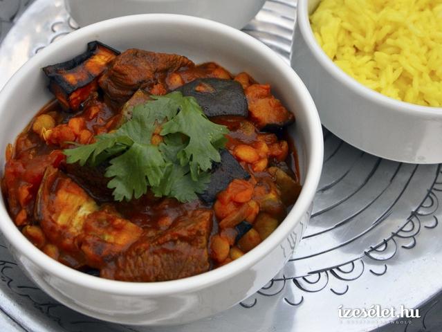 Fűszeres, padlizsános marharagu jázminrizzsel
