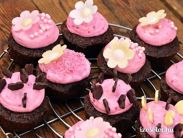 Dupla csokoládés tortácska pink mascaponekrémmel