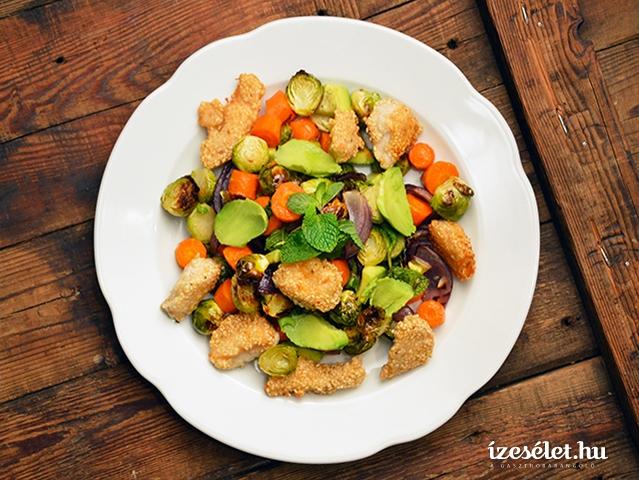 Szezámmagos, ropogós csirkemell, langyos, sült zöldségsaláta