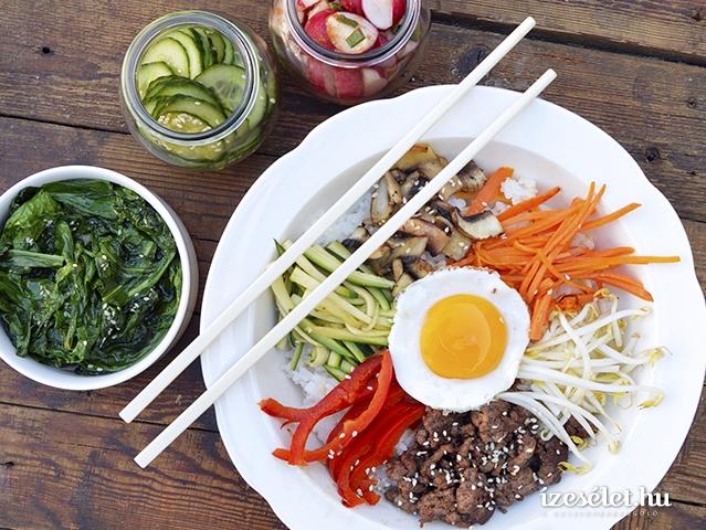 Bibimbap - marhahúsos, zöldséges koreai egytálétel