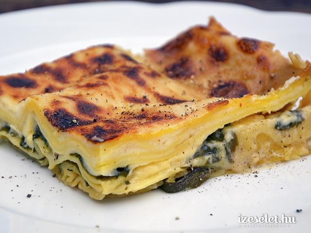 Spenótos, cukkinis lasagne