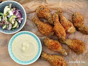 11.05 Mandulás rántott csirke, csicsókapüré, uborkasaláta