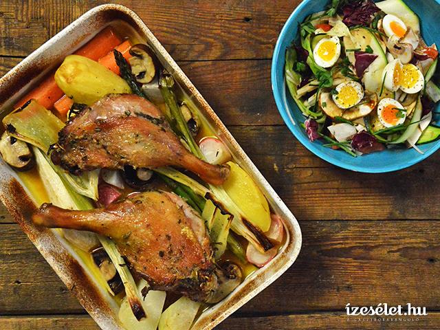 Rozmaringos libacomb, rozéboros tavaszi zöldségekkel