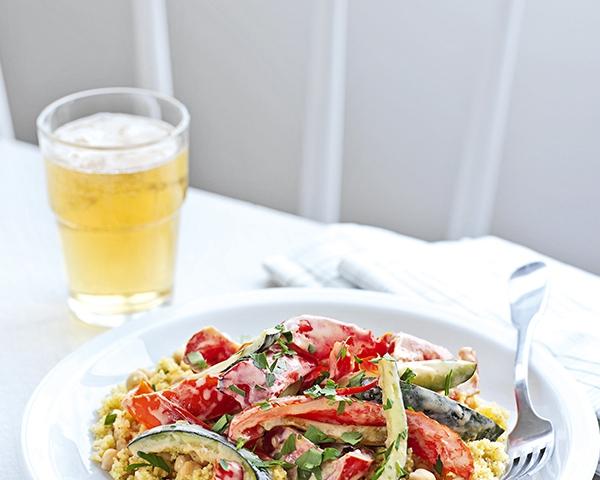 Sült zöldségek kuszkusszal és mascarponéval