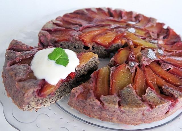 Fordított szilvás-mákos süti, egészséges hozzávalókból