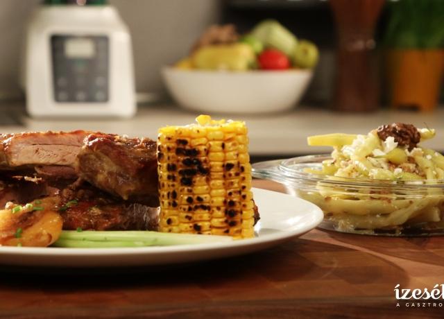 Oldalas grill kukoricával, zöldbab salátával