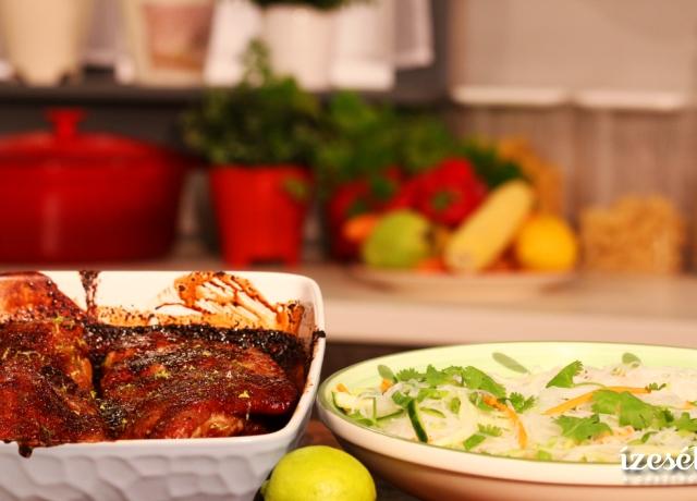 Édes-savanyú oldalas üvegtészta salátával