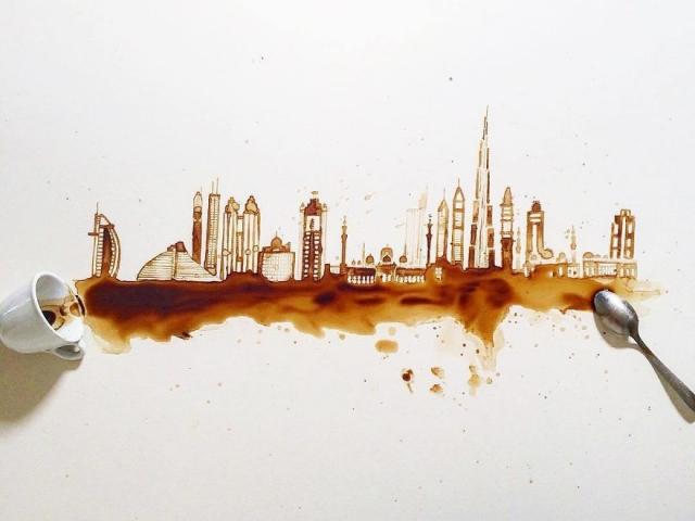 Kiöntött kávéból és teából műalkotást