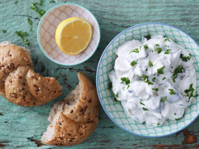 Csirkés-joghurtos padlizsánsaláta