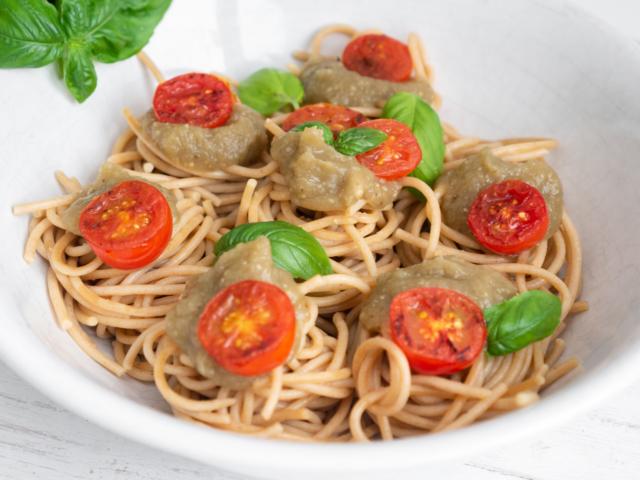 Padlizsánkrémes spagetti